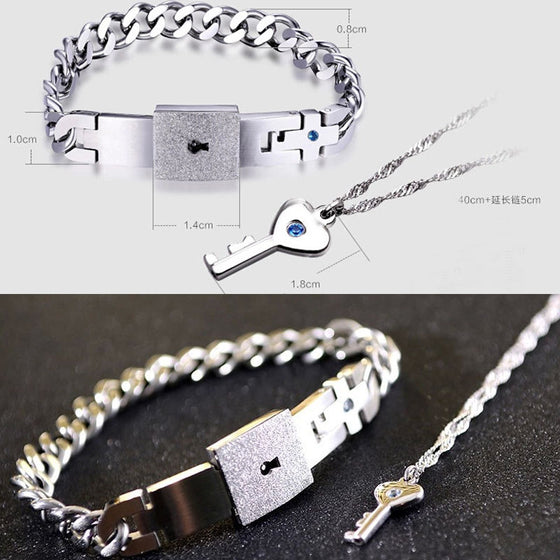 Couples Stainless Steel Bracelet and Pendant Set - AvantgardExchange.com