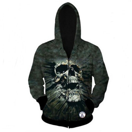 Grey Skull Full-Zip Hoodie - AvantgardExchange.com