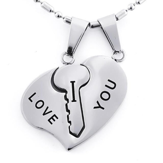 "Matching Heart & Key ""I Love You"" Pendant Necklace - AvantgardExchange.com"
