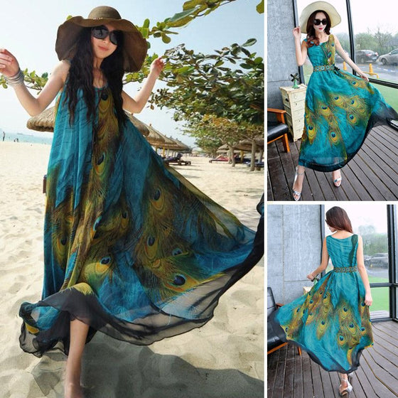 Chiffon Peacock Floral Dress