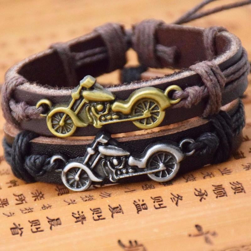 Classic Motorcycle Leather Bracelet - AvantgardExchange.com