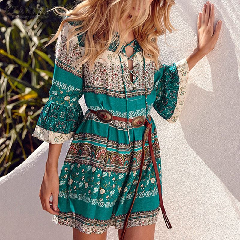 Mini Boho Dress, 3/4 Sleeve- Lace Up