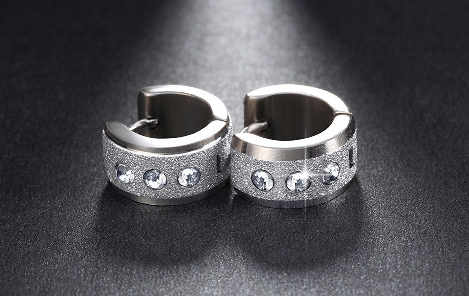 Stainless Steel Hoop Earrings- Small Loop Many CZ - AvantgardExchange.com