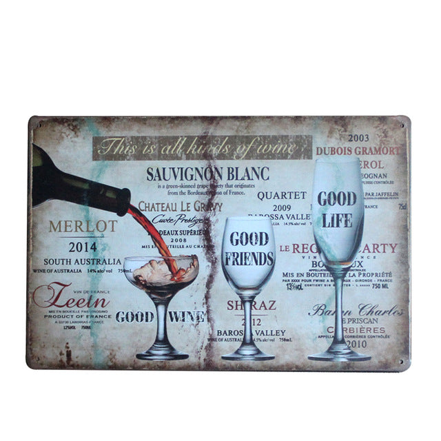 "Vintage Wine Tin Sign 8""x12"" Metal Wall Decor"