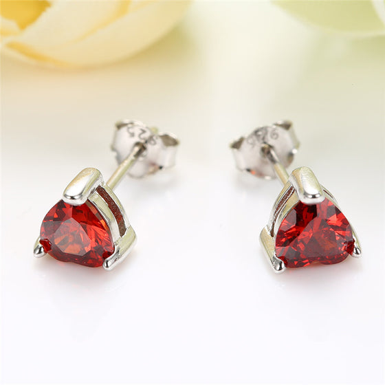 Sterling Silver Heart CZ Stud Earrings - AvantgardExchange.com