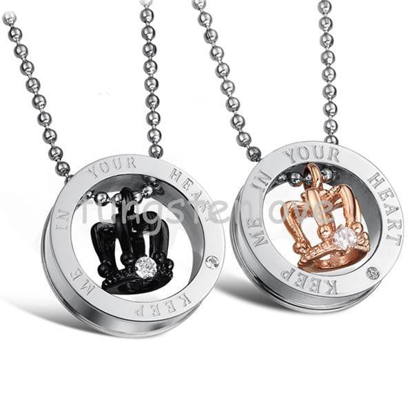 """Keep Me in Your Heart"" Couple Pendant Necklaces"