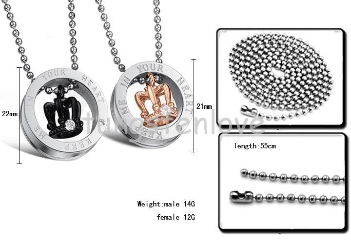 Couple Crown Pendant Necklaces
