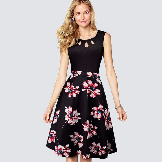 Women Retro Floral Print Swing A-line Dress