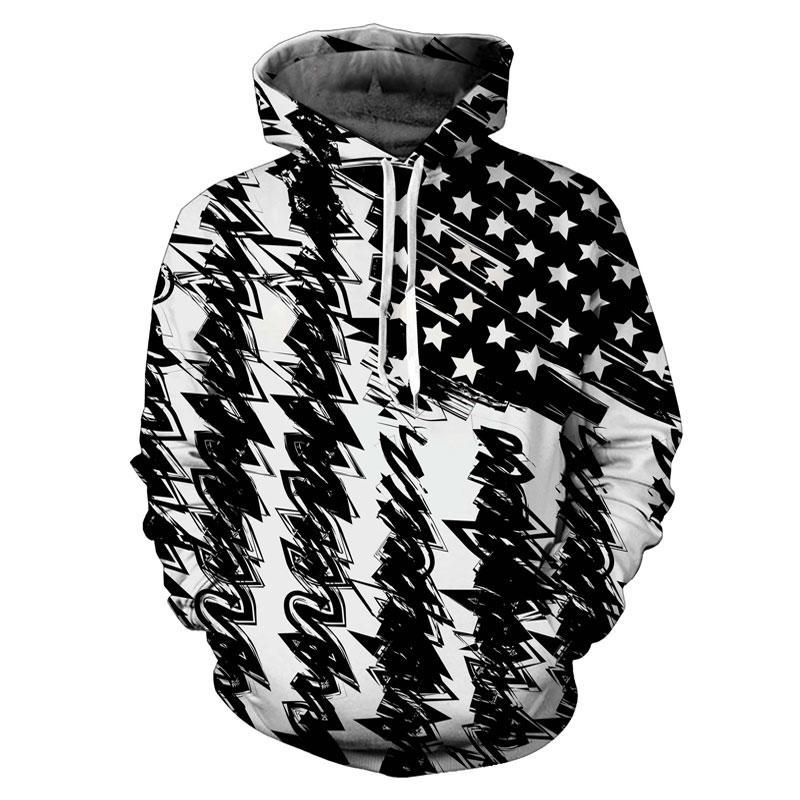3d Print Black White USA Flag Hoodie