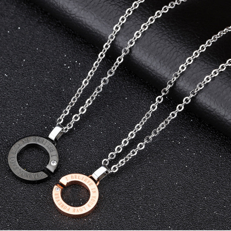 Couples Circle Pendant Necklace- 'Believe' - AvantgardExchange.com