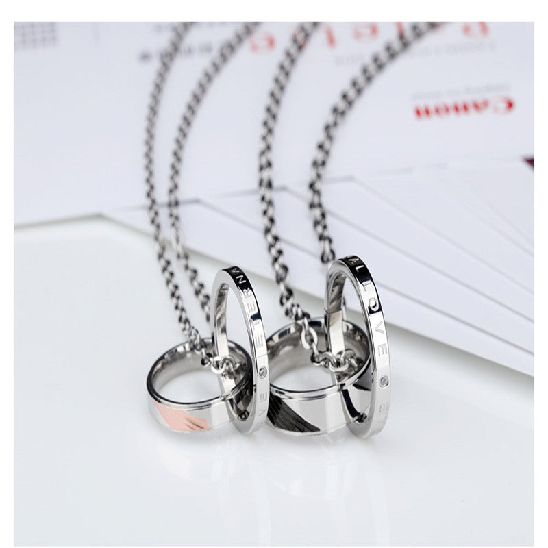 Couples 'Eternal Love' Circle Stainless Steel Necklaces - AvantgardExchange.com
