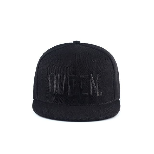 KING QUEEN All Black Hats