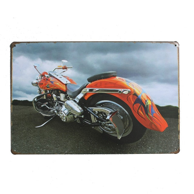 "Vintage Tin Motorcycle Sign 8""x12"" Metal Wall Decor"
