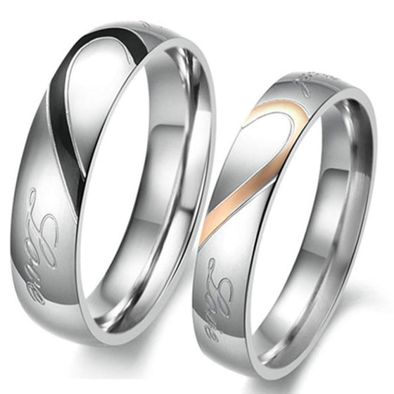 Couples Stainless Steel Rings- Matching Hearts - AvantgardExchange.com