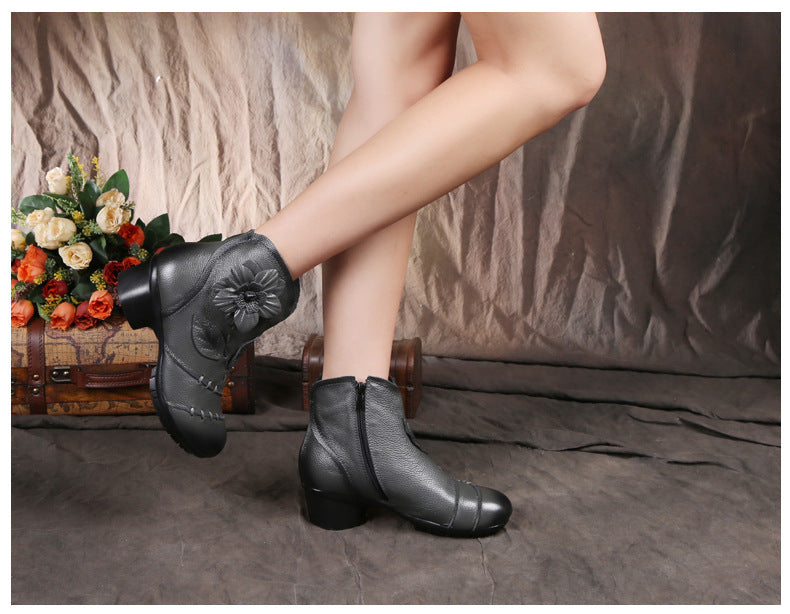 Genuine Leather Handmade Ankle Boots- Spring, Fall - AvantgardExchange.com