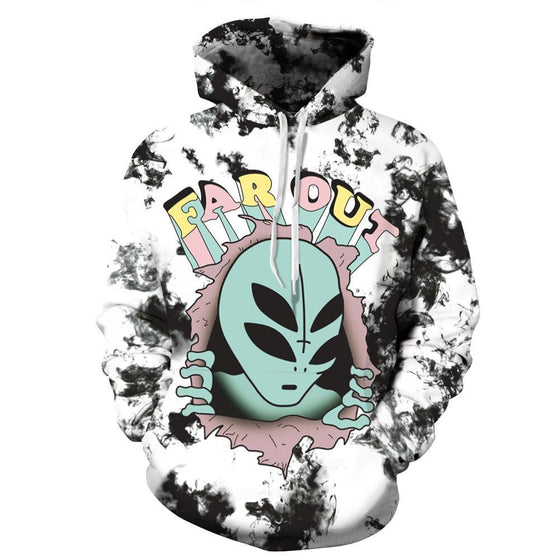 Aliens Far Out Printed Hoodie