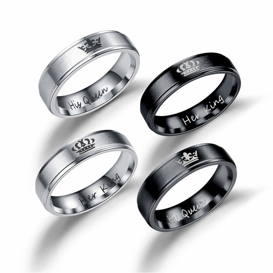 His & Hers Couples Rings- HIS QUEEN and HER KING - AvantgardExchange.com