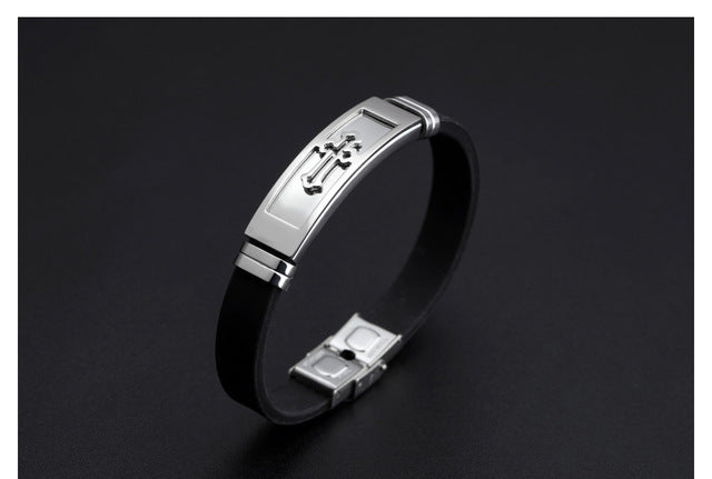 Silicone Stainless Steel Cross Bracelet - AvantgardExchange.com