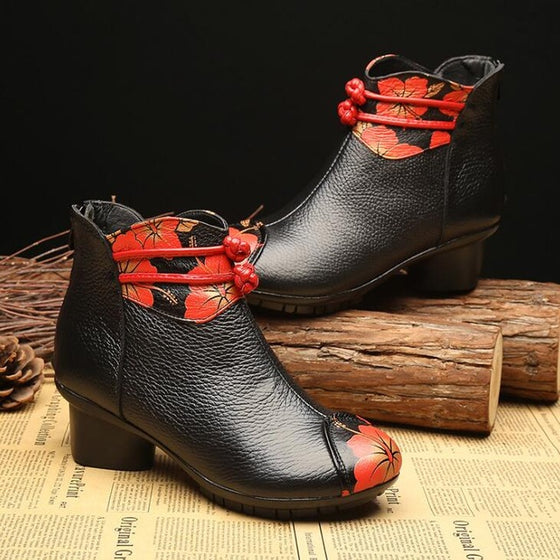 Genuine Leather Ankle Boots - Flower - AvantgardExchange.com