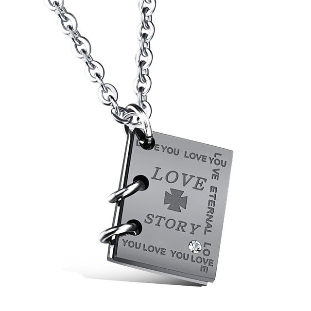 """Love Story"" Book Pendant Necklace"