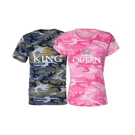 Camouflage King Queen T-Shirts