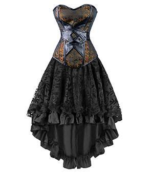 Steampunk Corset Dress- Leather Overbust - AvantgardExchange.com