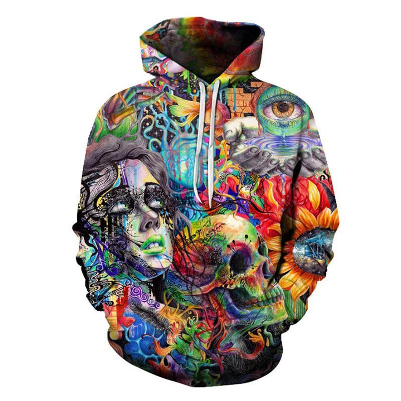 Cool Abstract Skull Design Hoodie - AvantgardExchange.com