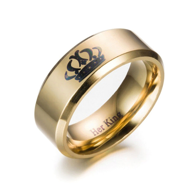 Stainless Steel Gold Her King And His Queen Couple Rings - AvantgardExchange.com