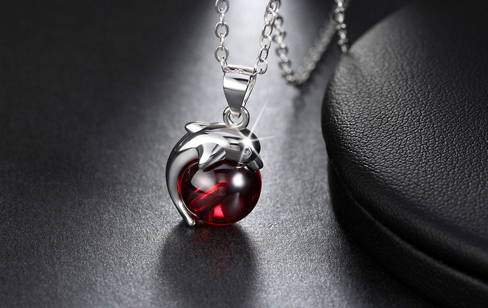 Red Agate Sterling Silver Dolphin