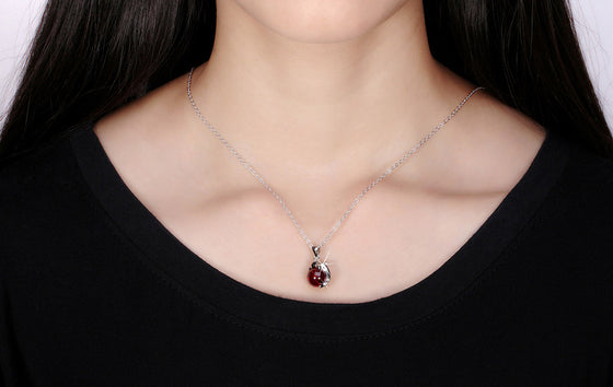 925 Sterling Silver Dolphin- Red Agate