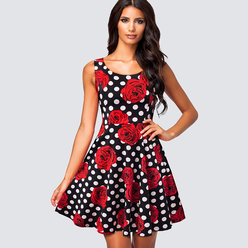 Vintage Chic Swing A-line Dress- Rose