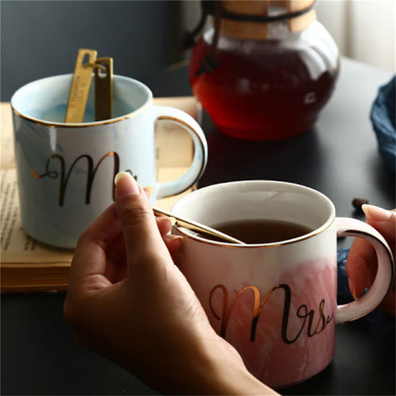 Couples Mug- Mr and Mrs stone pattern - AvantgardExchange.com
