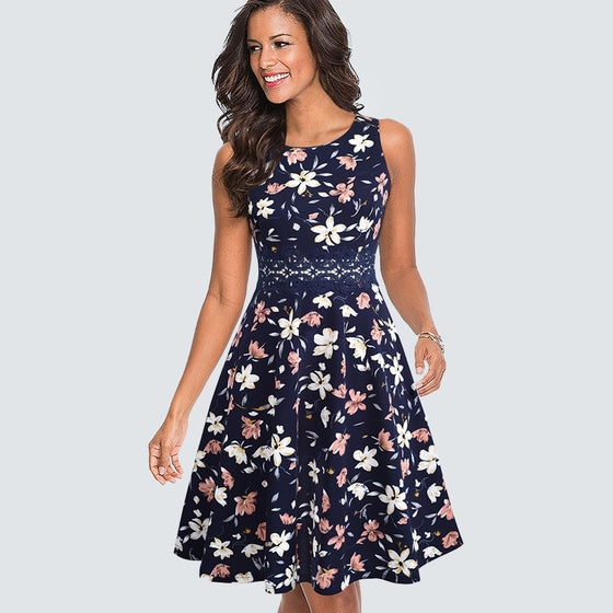 Vintage Round Neck A-line Dress- Lace Floral