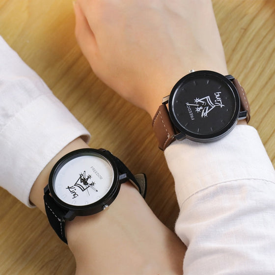 King & Queen Leather Quartz Watch