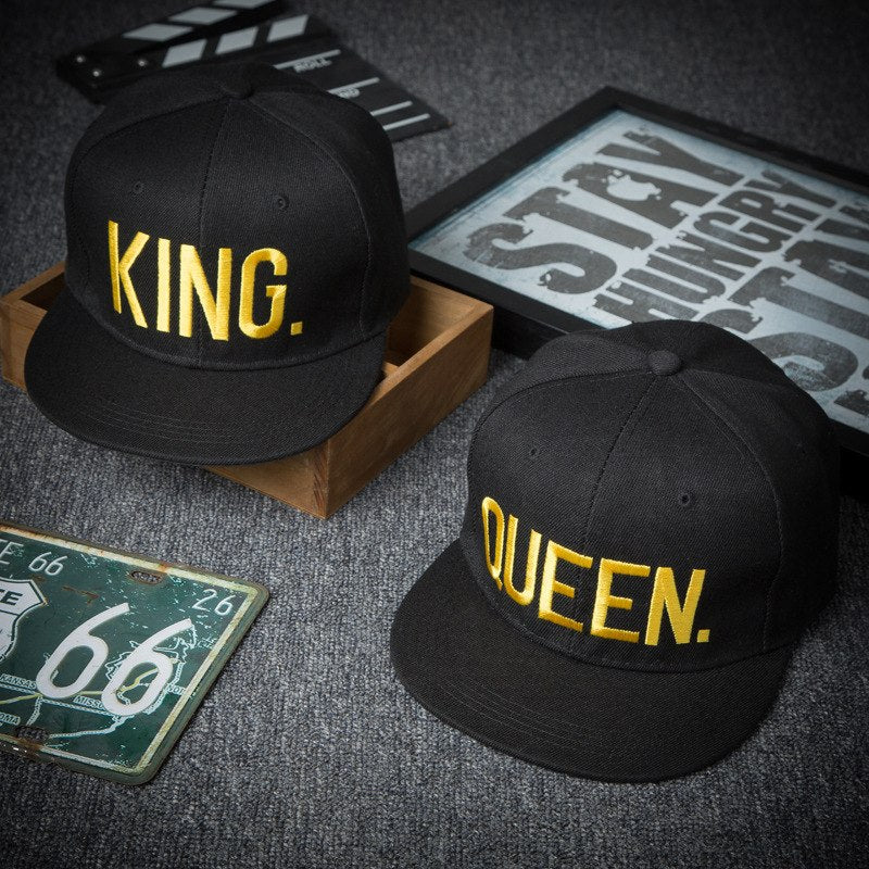 King and Queen Gold Lettering Hats