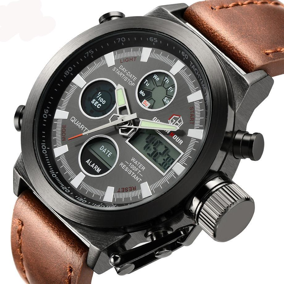 Digital Military Watch w/ Leather Strap - AvantgardExchange.com
