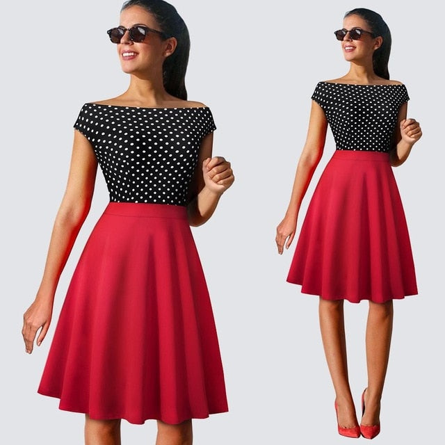 Vintage Chic Swing A-line Dress- Polka dots