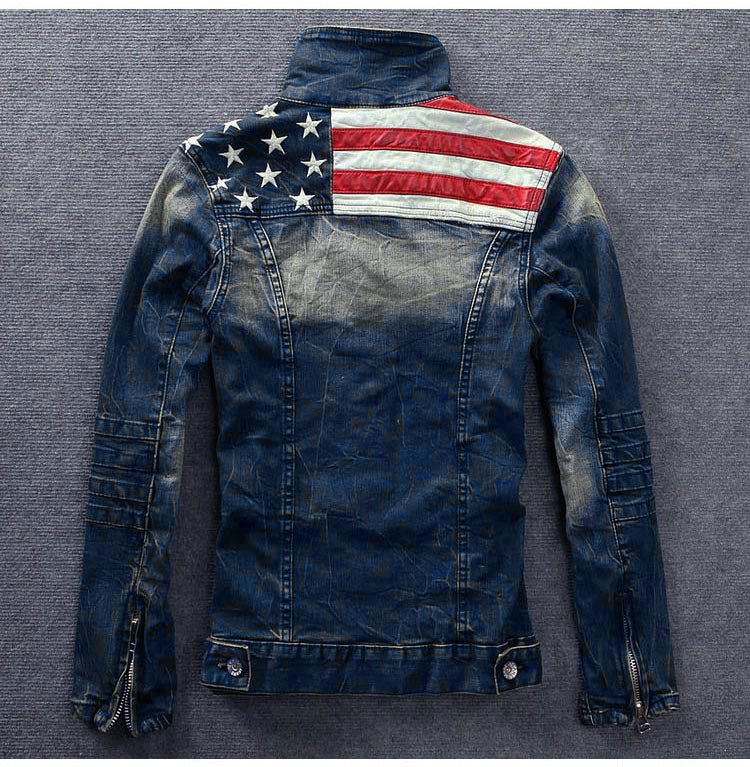 Vintage American Flag Denim Jacket