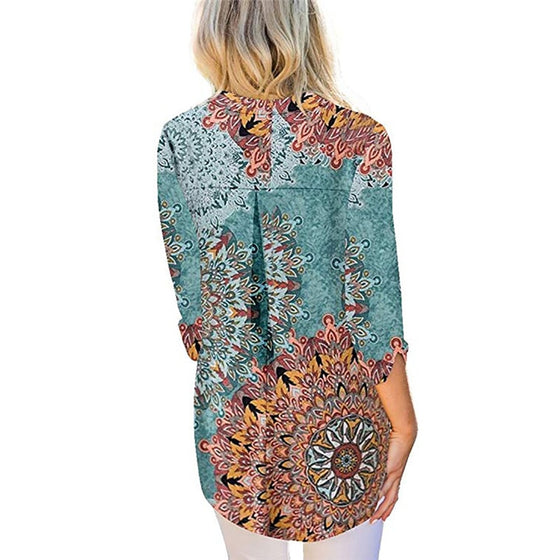 Half Sleeve V-Neck Tunic- Floral