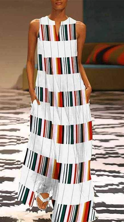 Striped Plaid Maxi Dress- Sleeveless Patchwork