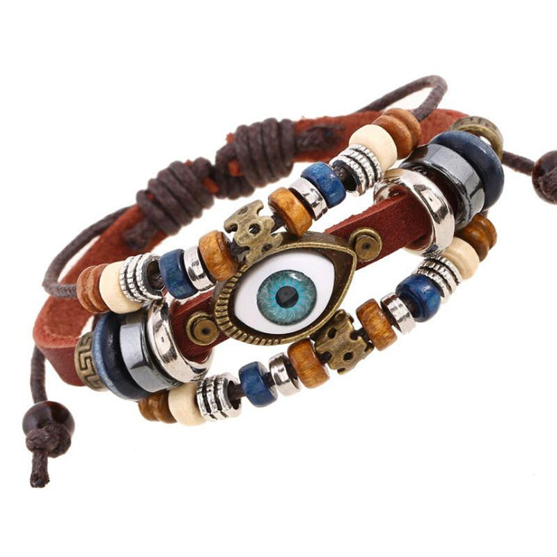 Handmade Turkish Evil Eye Leather Adjustable Bracelet - AvantgardExchange.com