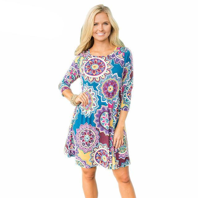 3/4 Sleeve Pocket Tunic- Damask