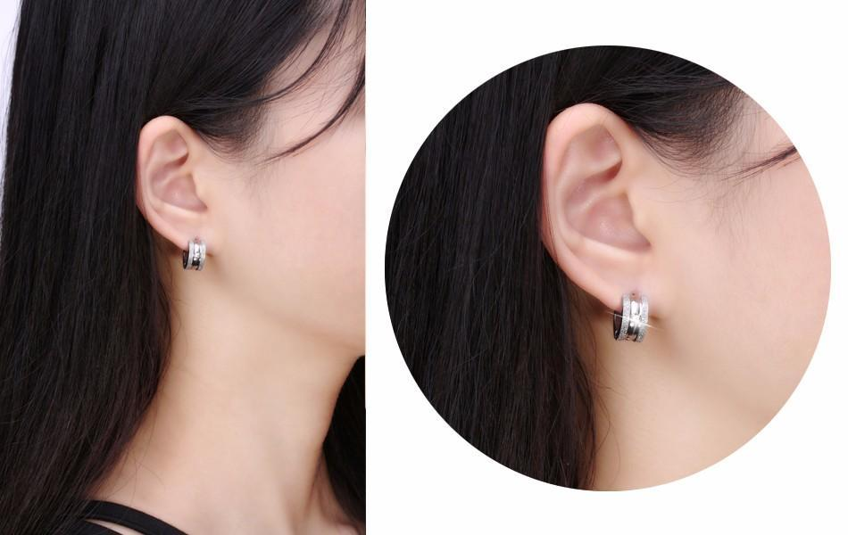 Stainless Steel Hoop Earrings- Small Loop CZ - AvantgardExchange.com