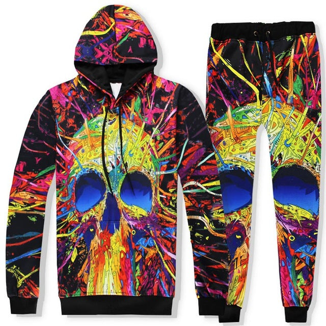 Harajuku Painted Skull Hoodie And Pants Set