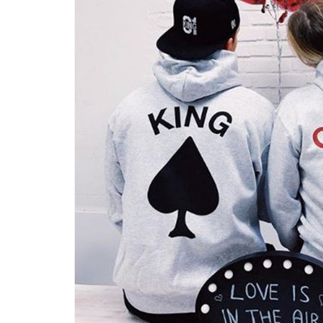 King of Spade and Queen of Hearts Hoodies