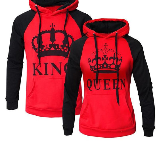 The King and Queen Fire Red Hoodies