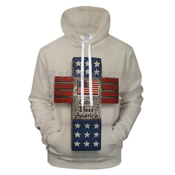 American Flag Hooded Pullover