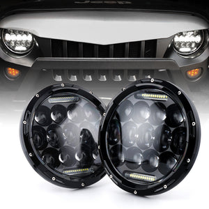 "7"" 75w CREE LED Headlights with DRL for '97-'18 JL, JK, JKU, TJ"