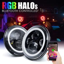 H1 RGB Angel Eye Halo CREE LED Headlights With DRL for '97-2019 JL, JK, JKU, and TJ