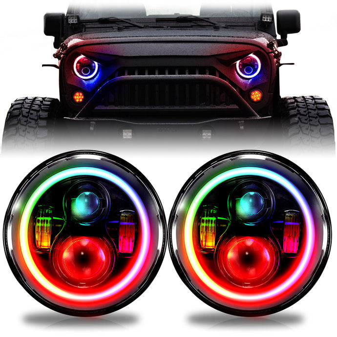 Chasing H2 RGB Angel Eye Halo CREE LED Plus Turn Signal Headlights with DRL for '97-2019 JL, JLU, JK, JKU, and TJ